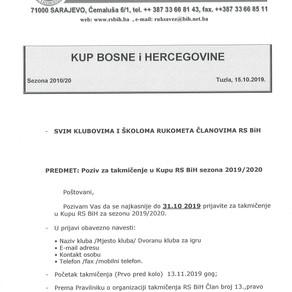Poziv za takmičenje u KUP-u BiH Sezona 2019/20