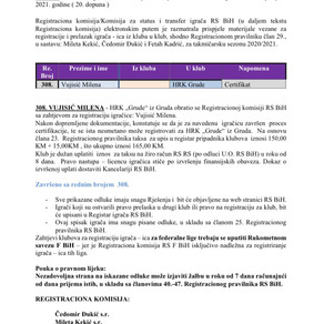 ODLUKE Registracione komisije 20. Dopuna
