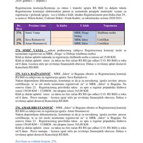 ODLUKE Registracione  komisije 7. Dopuna