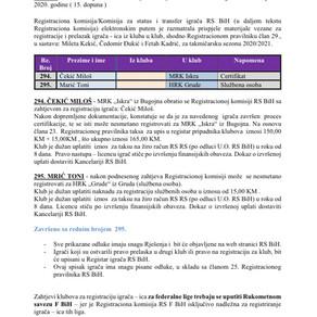 ODLUKE Registracione komisije 15. Dopuna