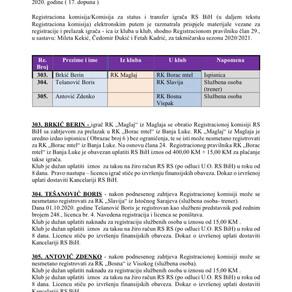 ODLUKE Registracione komisije 17. Dopuna
