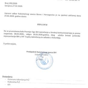 Odluka o promjeni termina PL BiH za žene