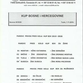 Parovi prvog kola KUP-a BiH za Žene i Muškarce