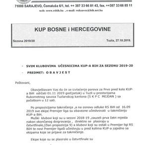 Obavjest svim klubovima koji se takmiče u KUP-u BiH
