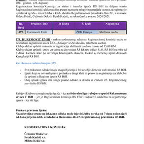 ODLUKE Registracione komisije proljetni dio sezone 2020/21