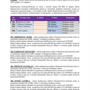 ODLUKE Registracione komisije 10. Dopuna