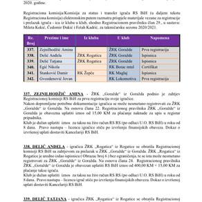 ODLUKE Registracione komisije za proljetni dio sezone 2020/21