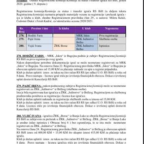 ODLUKE Registracione komisije 9. Dopuna