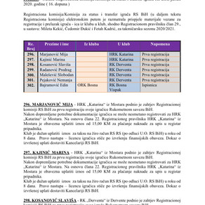 ODLUKE Registracione komisije 16. Dopuna