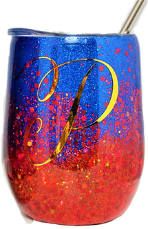 Ombre Glitter Confetti Stainless Steel Wine Tumbler