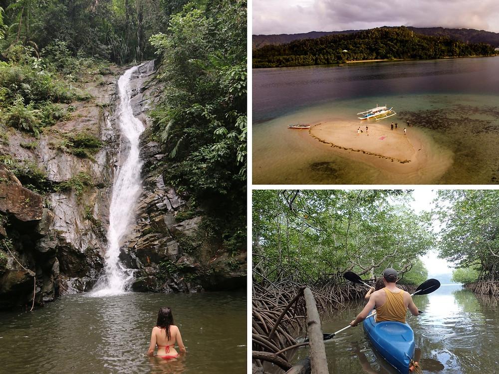 port barton, papawyan waterfall, sand bar, mangroves what to do in palawan philipines four dirty feet
