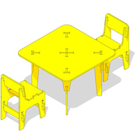 Mesa y par de Sillas - FAB LAB AUSTRAL (Flat Pack)