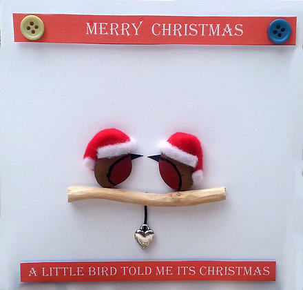 Hand-Crafted Christmas Card - Two Robins