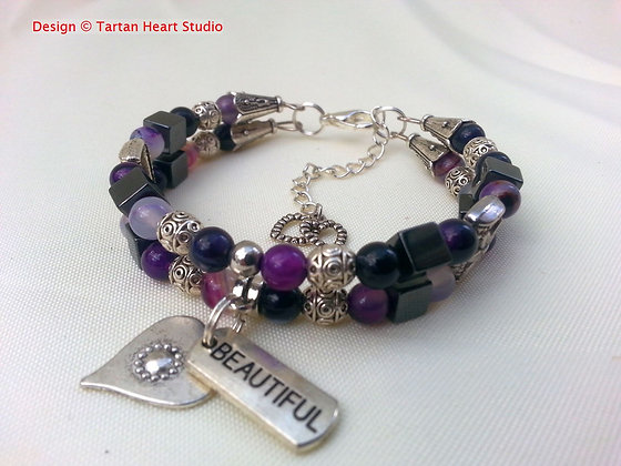 Purple Striped Agate Bracelet - Double