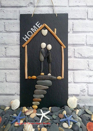 Large Slate Pebble Art - Home