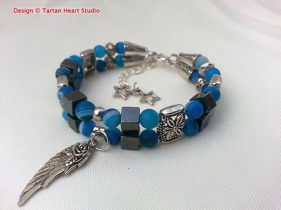 Blue Striped Agate Bracelet - Double