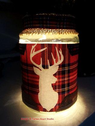 Large Tartan Stag Lantern