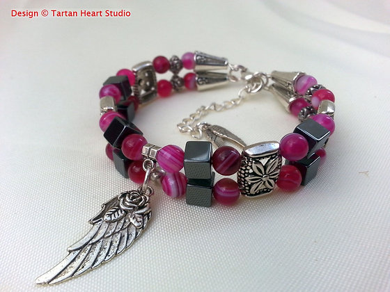 Pink Striped Agate Bracelet - Double