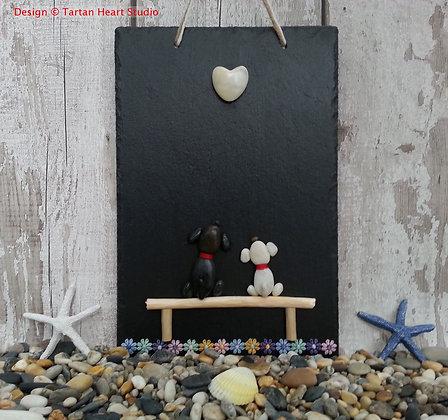 Medium Slate Pebble Art - Puppy Love