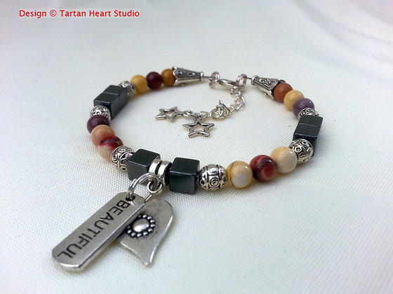 Mookaite and Tibetan Silver Bracelet - Single