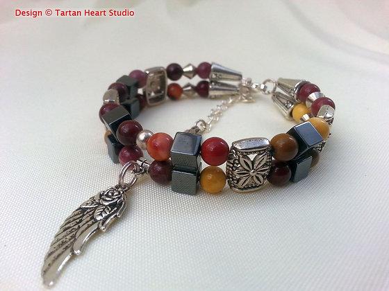 Mookaite and Tibetan Silver Bracelet - Double