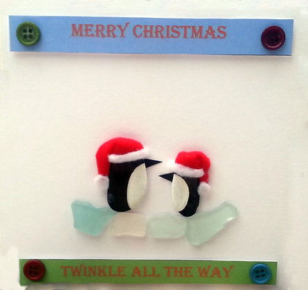 Hand-Crafted Christmas Card - Penguins