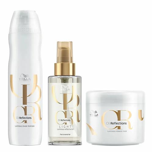 Wella Oil Reflections Kit – Óleo Capilar + Shampoo + Máscara