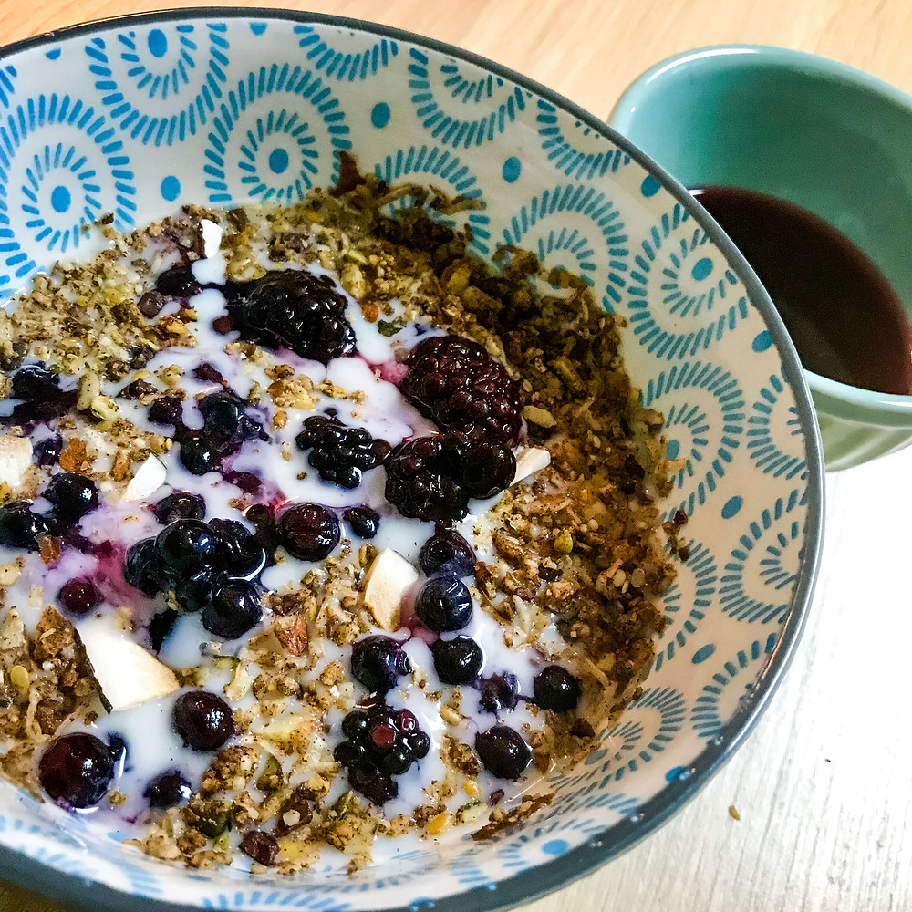 Bowl of Gluten-Free Nut+Seed Granola