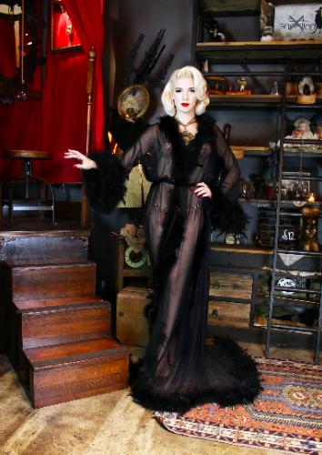 Frou Frou Dressing Gown Noir Black