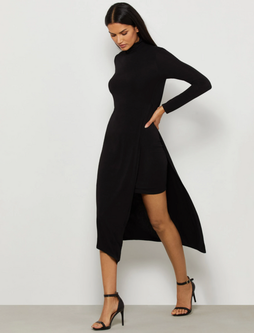 Jada Asymmetrical Turtleneck Dress