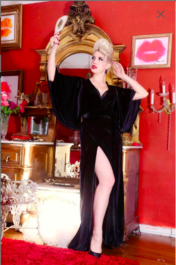 Harlow Wrap Gown Midnight Black