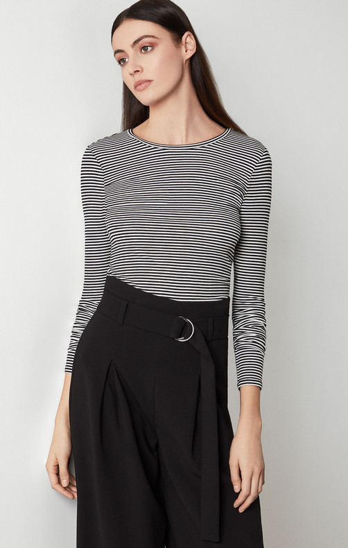 Striped Jersey Longsleeve Crew Neck Top