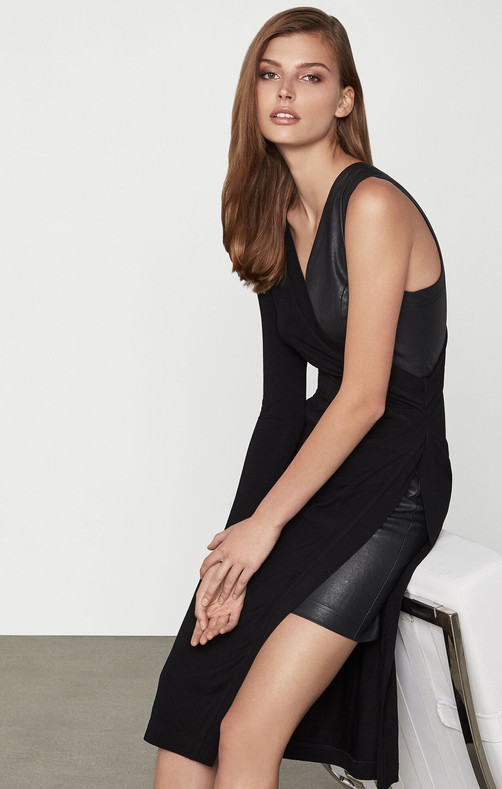 Asymmetric Mixed Media Jersey Dress