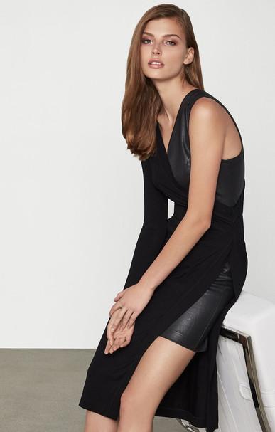 Asymmetric Mixed Media Jersey Dress