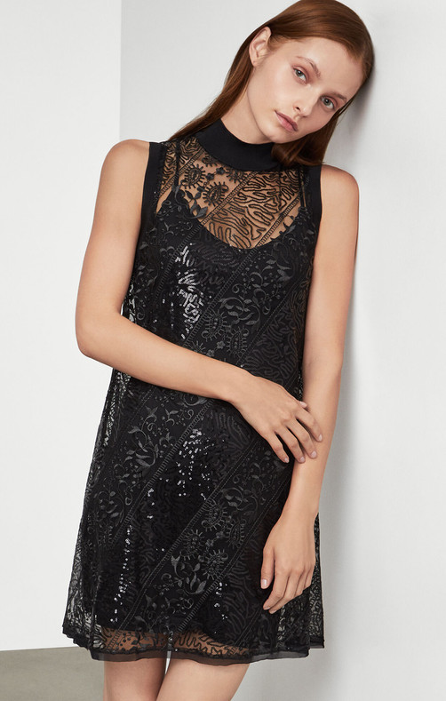 Semi-sheer Lace Dress