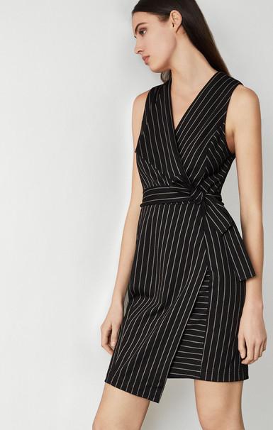 Pinstripe Crossover Dress