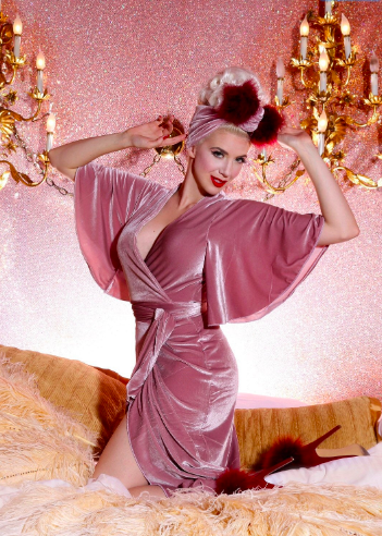 Harlow Wrap Gown Dusty Rose