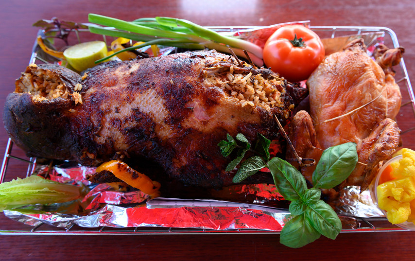 Roasted and Stuffed Whole Duck