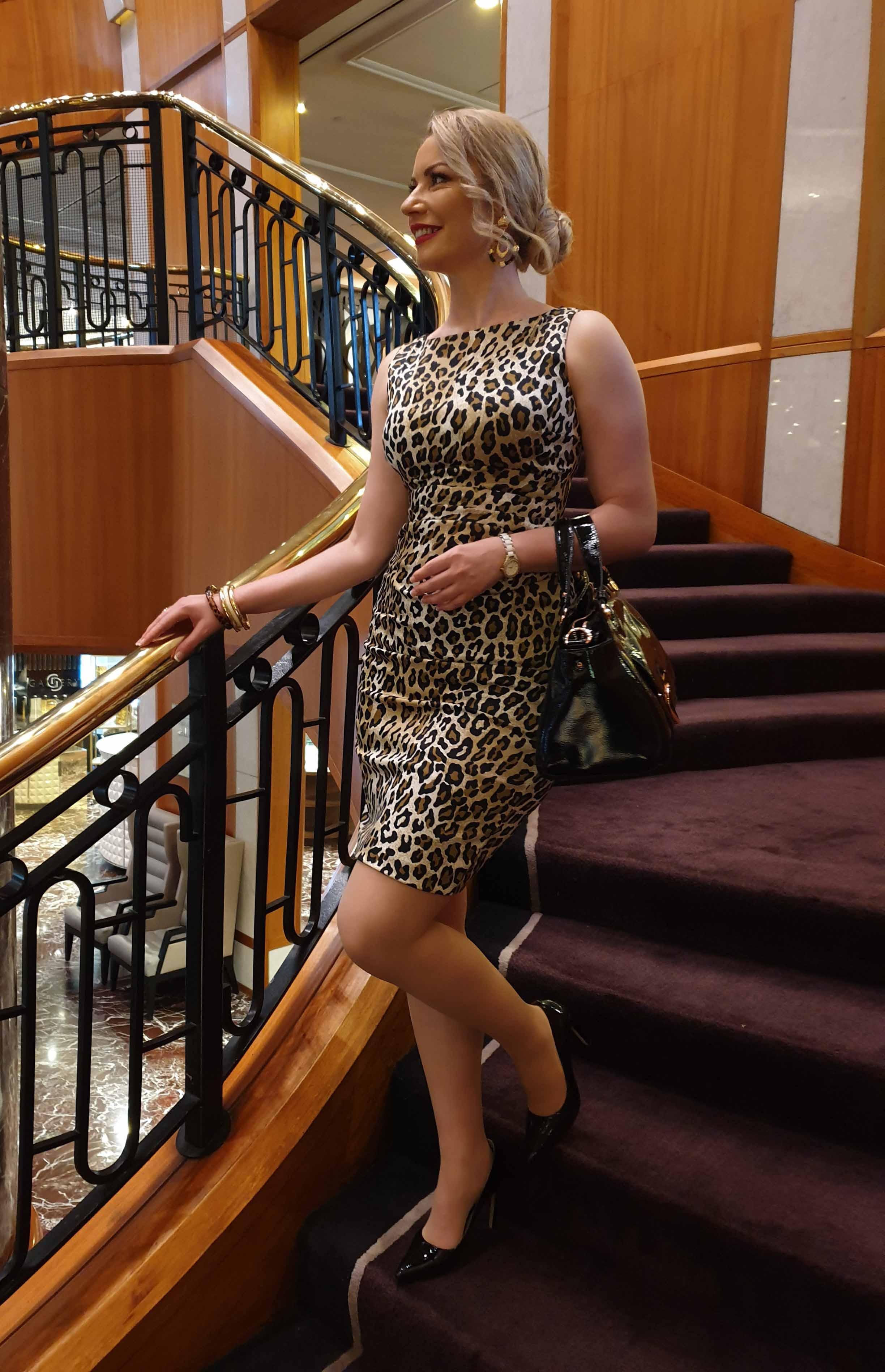 On my way in leopard  print dress...