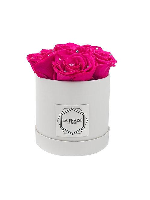 fuchsia diamond preserved rose bucket vancouver front