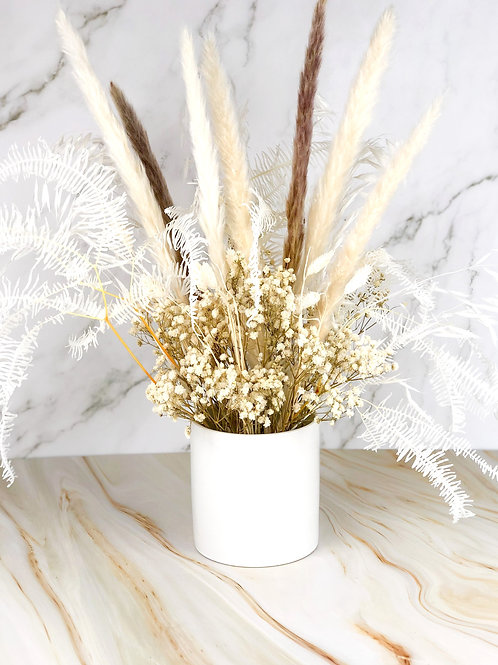dried flowers floral arrangements beige neutral white vancouver front
