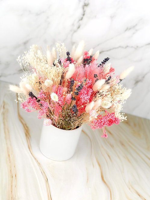 dried flowers arrangement pink purple white vancouver front