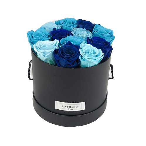 blue mix preserved rose bucket vancouver front