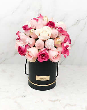 pink mix chocolate strawberry rose bucket vancouver BC