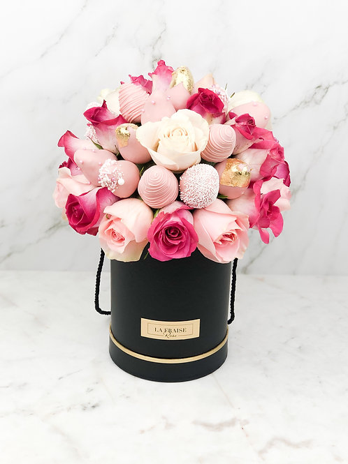 Pink Mix Chocolate Strawberry Rose Dome