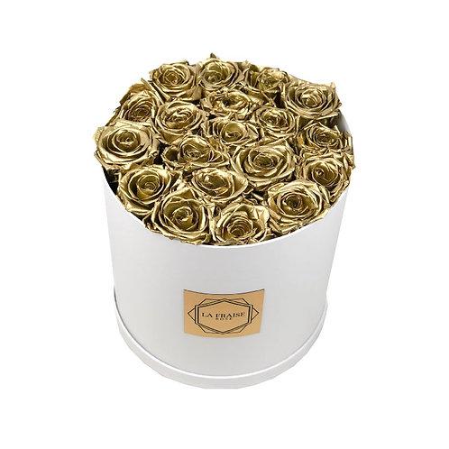 Metallic Gold Rose Bucket front view