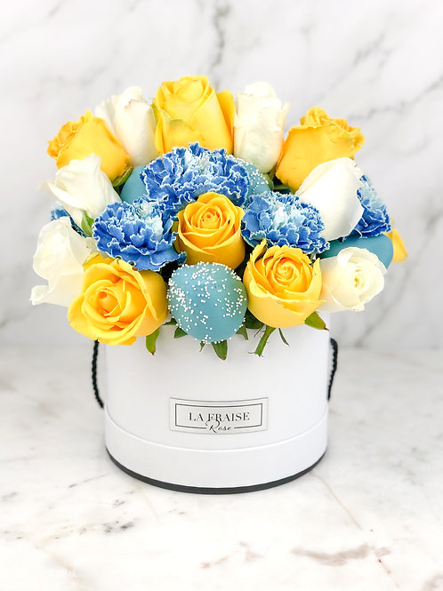 blue star yellow chocolate strawberries bouquet front