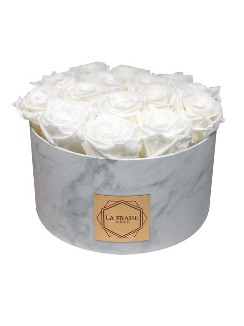white marble round box preserved rose vancouver front