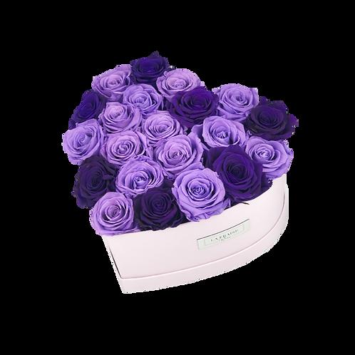 Purple & Lavender Mix Heart Rose Box front view