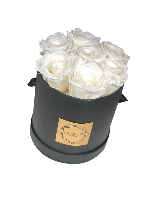classic white preserved rose bucket vancouver front view